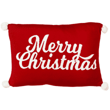 "Red & White ""Merry Christmas"" Knit Pillow with Pom Poms"