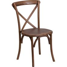 Stackable Pecan Wood Cross Back Chair