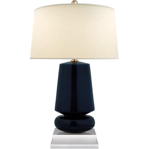 Visual Comfort CHA8668DM-PL E. F. Chapman Parisienne 29 inch 150 watt Denim Porcelain Table Lamp Portable Light, E.F. Chapman, Small, Natural Percale Shade