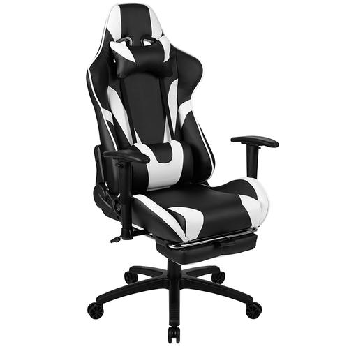 Gallery - Black Gaming Desk and Black Footrest Reclining Gaming Chair Set with Cup Holder, Headphone Hook & 2 Wire Management Holes