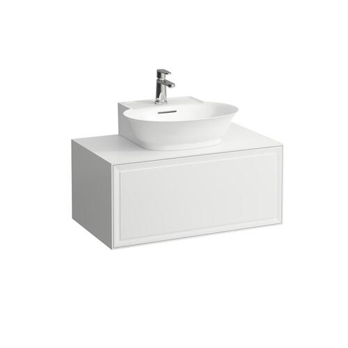 White Matte Drawer element 800, 1 drawer, with centre cut-out, matches small washbasin 816852