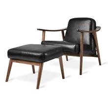 See Details - Baltic Chair & Ottoman New Saddle Black Leather / Walnut