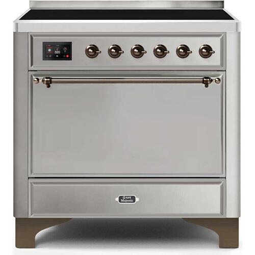 Majestic II 36 Inch Electric Freestanding Range in Stainless Steel with Bronze Trim