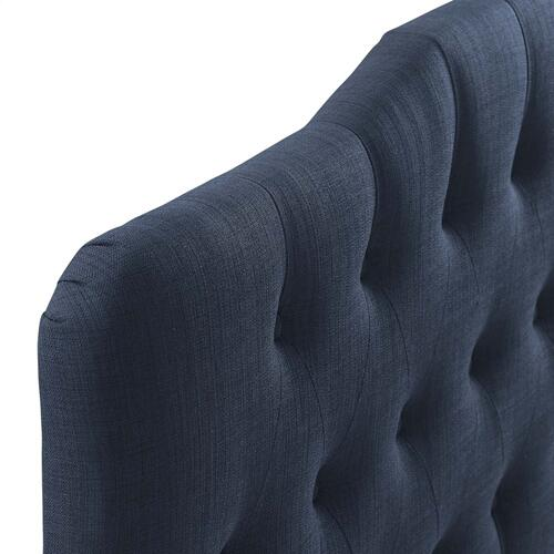 Annabel Queen Upholstered Fabric Headboard in Navy