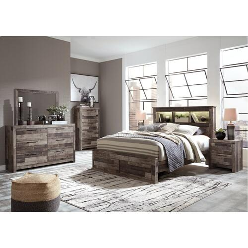 Derekson Queen Panel Bookcase Bed With 2 Storage Drawers