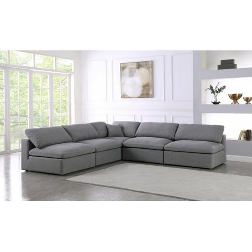 """Meridian Furniture - Serene Linen Deluxe Cloud Modular Down Filled Overstuffed Sectional - 118"""" W x 120"""" D x 32"""" H"""