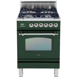 Nostalgie 24 Inch Gas Liquid Propane Freestanding Range in Emerald Green with Chrome Trim