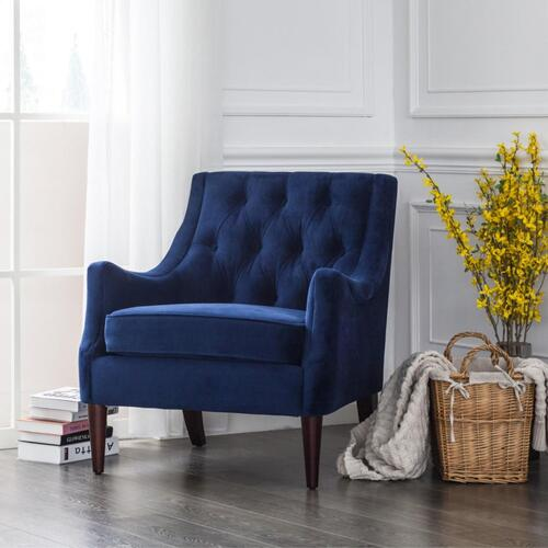 Marlene KD Velvet Fabric Tufted Accent Arm Chair, Navy Blue