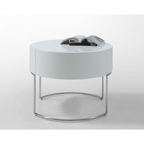 Modrest Liv Modern White Lacquer Round Nightstand