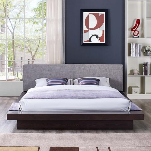 Freja Queen Fabric Platform Bed in Cappuccino Gray