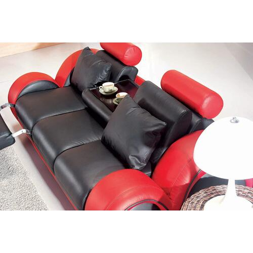 Divani Casa 4088 - Contemporary Black and Red Leather Sofa Set