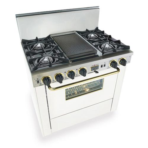 """Five Star - 36"""" Dual Fuel, Convect, Self-Clean, Open Burners, White with Brass"""