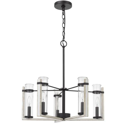 60Wx 5 Olivette metal chandelier with glass shade
