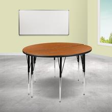 """See Details - 2 Piece 47.5"""" Circle Wave Flexible Oak Thermal Laminate Activity Table Set - Standard Height Adjustable Legs"""