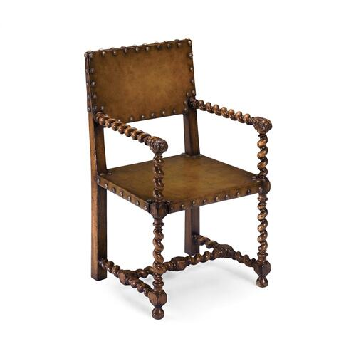 Tudor style medium antique chestnut leather hall seat armchair