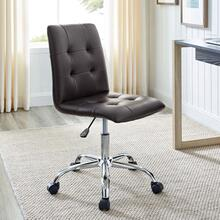 See Details - Ripple Armless Mid Back Vinyl Office Chair in Brown