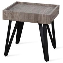 Grey Weathered Wooden Side Table with Black Metal Hairpin Legs  20in X 20in X 20in  Side Table