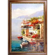 Busy Marina Framed Hand Painted Art, Oil on Canvas