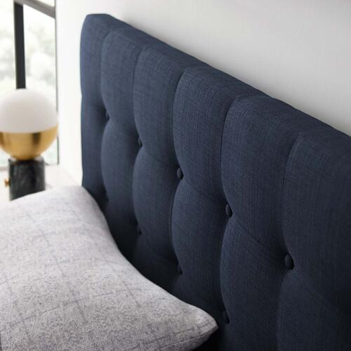 Emily Queen Upholstered Fabric Headboard in Navy