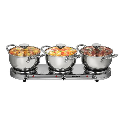 Kalorik - Kalorik Triple Burner Buffet Set, Stainless Steel