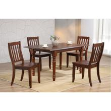 DLU-ADW3660-C20-CT5PC  5 Piece Andrews Butterfly Leaf Dining Set with School House Chairs  Chestnut