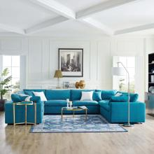 Commix Down Filled Overstuffed 8 Piece Sectional Sofa Set in Teal