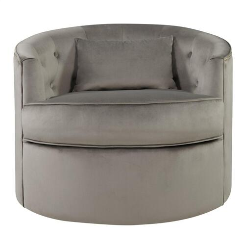 Marjorie Velvet Fabric w/ Nailhead Tufted Swivel Accent Arm Chair, Light Gray