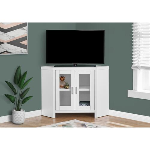 """Gallery - TV STAND - 42""""L / WHITE CORNER WITH GLASS DOORS"""