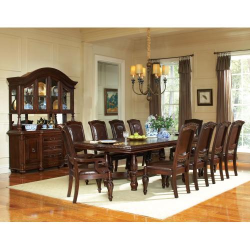 """Antoinette 96-120 inch Pedestal Dining Table w/24"""" Leaf"""