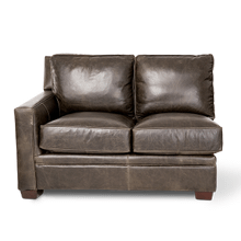 Oxford Leather LAF LoveSeat inGrey_Espresso Espresso
