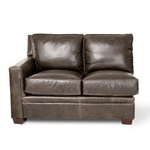 See Details - Oxford Leather LAF LoveSeat inGrey_Espresso Espresso