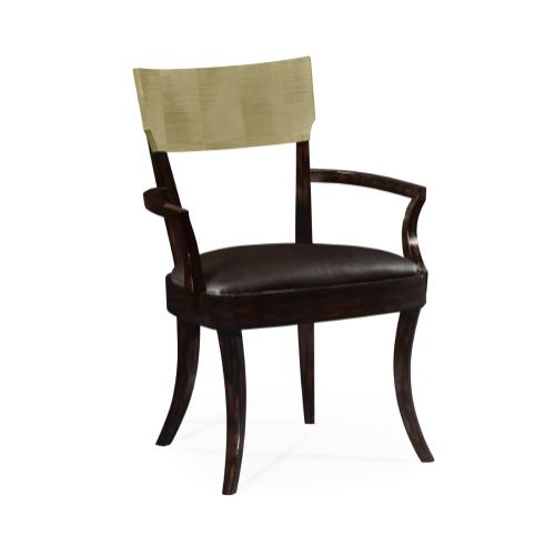 Art Deco Champagne Dining Armchair, Upholstered in Dark Chocolate Leather