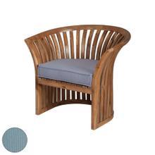 See Details - Teak Barrel Chair in Euro Teak Oil with Single Outdoor Sea Green Cushion