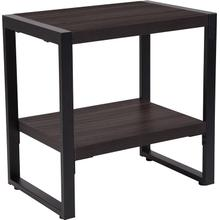 See Details - Thompson Collection Charcoal Wood Grain Finish End Table with Black Metal Frame