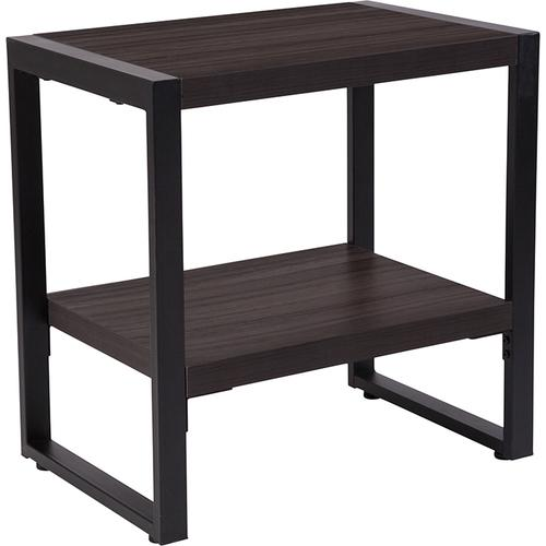 Flash Furniture - Thompson Collection Charcoal Wood Grain Finish End Table with Black Metal Frame