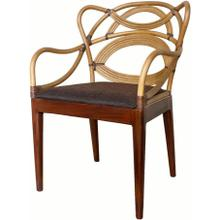 Tatiana Rattan Arm Chair Jeff Brown Legs, Natural