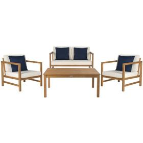 Montez 4-pc Outdoor Set With Accent Pillows - Natural / White / Navy