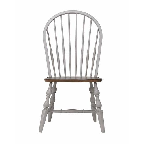 Windsor Dining Chairs - Distressed Gray & Brown (2 Piece)