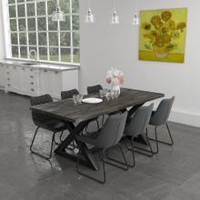 Zax/Calvin 7pc Dining Set, Black/Vintage Charcoal