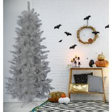 Fraser Hill Farm 7-Ft. Spooky Silver Tinsel Tree, No Lights, HH070TINTREE-0SIL
