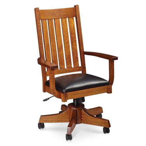 Simply Amish - Grant Arm Desk Chair, Leather Cushion Seat