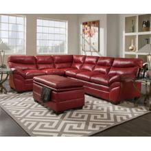 Soho Cardinal Red Bonded Leather Left Face Bump Sofa