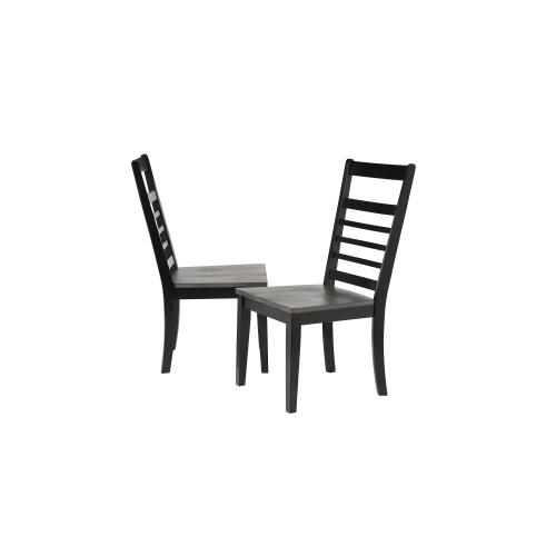 Ladder Back Dining Chair - Black and Gray Wood - Tempo Brook