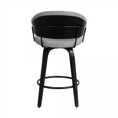 """Doral 26"""" Dark Gray Faux Leather Barstool in Black Powder Coated Finish and Black Brushed Wood"""
