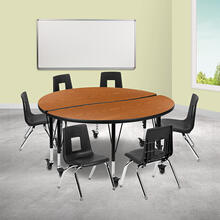 """Mobile 47.5"""" Circle Wave Collaborative Laminate Activity Table Set with 14"""" Student Stack Chairs, Oak\/Black"""