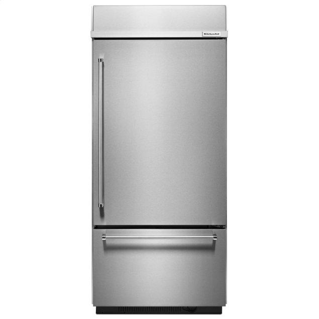 "Kitchenaid 20.9 Cu. Ft. 36"" Width Built-In Stainless Bottom Mount Refrigerator with Platinum Interior Design - Stainless Steel"