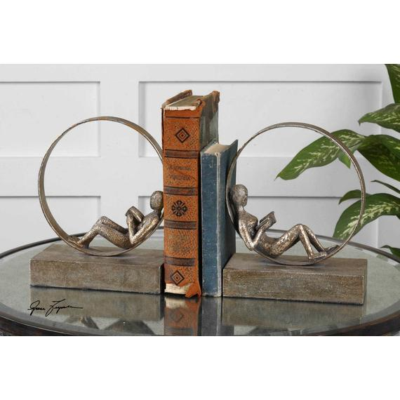Lounging Reader Bookends, S/2