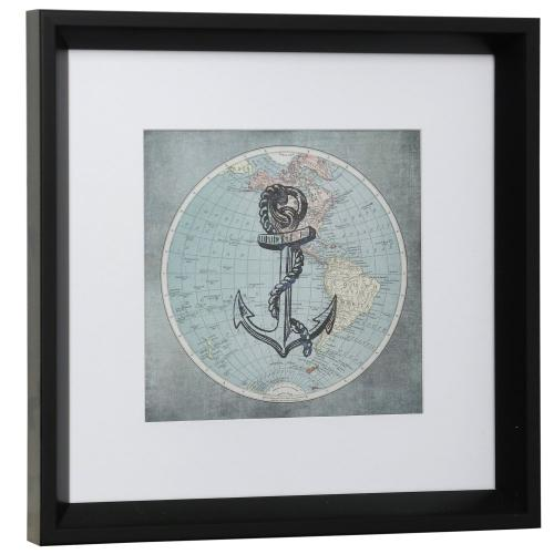 Style Craft - ANCHOR AWAY  13in w X 13in ht  Framed Print Under Glass with Matte