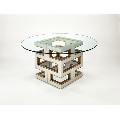 """Dining Table Base with Glass 28x28x30"""", Glass dia.60"""" & 1/2"""" thickness"""
