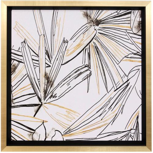 Style Craft - SELVA BLACK & GOLD SKETCH II  27in w X 27in ht  Textured Framed Print  Made in USA